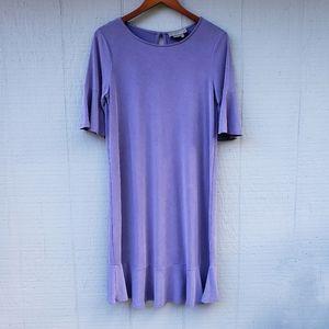 Anthropologie Purple Shift Dress Slinky Ruffle Med